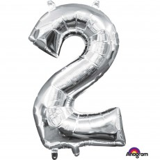 Number 2 Party Decorations - Shaped Balloon CI: Number 2 Silver 40cm