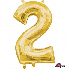 Number 2 Party Decorations - Shaped Balloon CI: Number 2 Gold 40cm