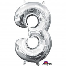 Number 3 Party Decorations - Shaped Balloon CI: Number 3 Silver 40cm