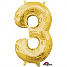 Number 3 Gold CI: Shaped Balloon