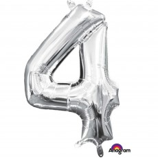 Number 4 Party Decorations - Shaped Balloon CI: Number 4 Silver 40cm