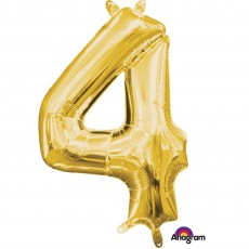 Number 4 Party Decorations - Shaped Balloon CI: Number 4 Gold 40cm