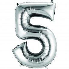 Number 5 Party Decorations - Shaped Balloon CI: Number 5 Silver 40cm