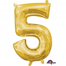 Number 5 Gold CI: Shaped Balloon