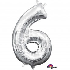 Number 6 Party Decorations - Shaped Balloon CI: Number 6 Silver 40cm