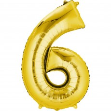 Number 6 Party Decorations - Shaped Balloon CI: Number 6 Gold 40cm