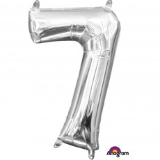 Number 7 Party Decorations - Shaped Balloon CI: Number 7 Silver 40cm