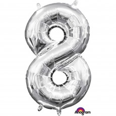 Number 8 Party Decorations - Shaped Balloon CI: Number 8 Silver 40cm
