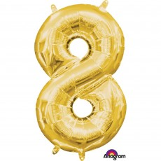 Number 8 Party Decorations - Shaped Balloon CI: Number 8 Gold 40cm