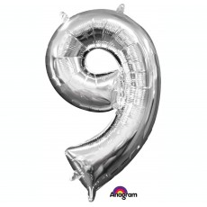 Number 9 Silver CI:  L16 Shaped Balloon