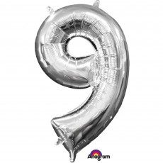 Number 9 Party Decorations - Shaped Balloon CI: Number 9 i Silver 40cm