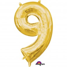 Number 9 Gold CI: Shaped Balloon