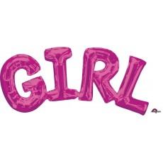 Pink Baby Shower - General CI: Script Phrase GIRL Foil Balloon 55cm x 25cm