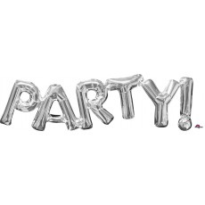 Silver CI: Script PARTY Shaped Balloon 83cm x 22cm