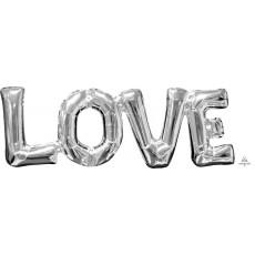 Silver CI:Phrases LOVE Shaped Balloon 63cm x 22cm