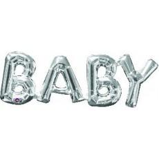 Silver Baby Shower - General CI: Script Phrase BABY Shaped Balloon 66cm x 22cm