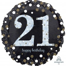 21st Birthday Sparkling Celebration Standard Holographic Foil Balloon