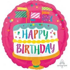 Happy Birthday Fancy Flags Cake Standard HX Foil Balloon