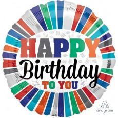 Happy Birthday Stripes Standard HX Foil Balloon