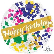 Happy Birthday Splatter Standard HX Foil Balloon