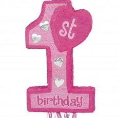 Pink Girl's 1st Birthday Pinatas 55.25cm x 45.72cm x 7.62cm