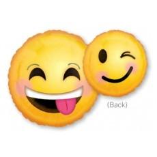 Emoji Smiling & Winking Foil Balloon