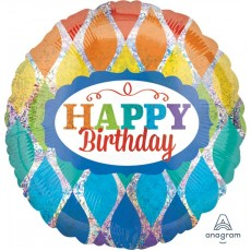 Round Rainbow Standard Holographic Happy Birthday Foil Balloon 45cm