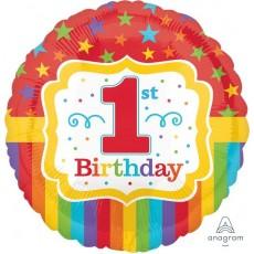 Round Boy's 1st Birthday Standard HX Rainbow Foil Balloon 45cm