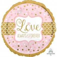 Round Wedding Standard HX Love Always & Forever Foil Balloon 45cm
