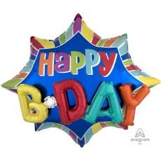 Happy Birthday Burst Multi-Balloon Happy B-Day Shaped Balloon 88cm x 73cm
