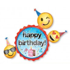 Emoji SuperShape XL Emoticons Happy Birthday! Shaped Balloon 68cm x 91cm