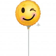 Round Emoji Winking Emoticons Foil Balloon 10cm