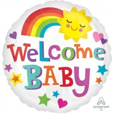 Round Baby Shower - General Standard HX Bright & Bold Welcome Baby Foil Balloon 45cm