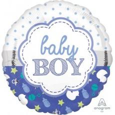 Round Baby Shower - General Standard HX Scallop Baby Boy Foil Balloon 45cm