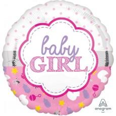 Round Baby Shower - General Standard HX Scallop Baby Girl Foil Balloon 45cm