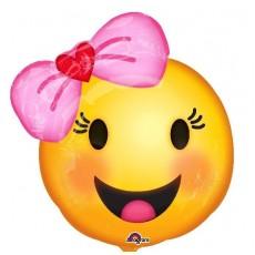 Emoji Happy Smiley Face Girl & Bow Foil Balloon