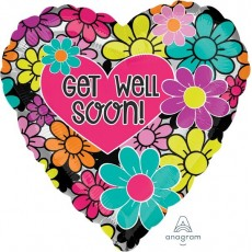 Get Well Floral Graphic Foil Balloon