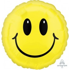 Round Yellow Jumbo Shape HX Smiley Face Foil Balloon 71cm