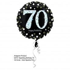 Round 70th Birthday Sparkling Celebration Standard Holographic Foil Balloon 45cm
