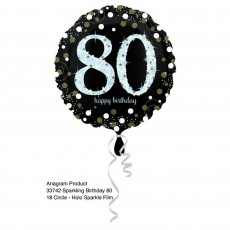 Round 80th Birthday Sparkling Celebration Standard Holographic Foil Balloon 45cm