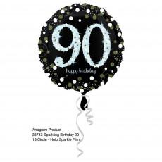 Round 90th Birthday Sparkling Celebration Standard Holographic Foil Balloon 45cm