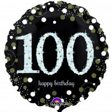 100th Birthday Sparkling Celebration Standard Holographic Foil Balloon