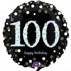 Round 100th Birthday Sparkling Celebration Standard Holographic Foil Balloon 45cm