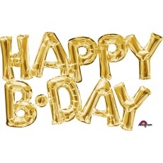 Gold Happy Birthday CI: Script Phrase HAPPY B.DAY Shaped Balloon 2 x 76cm x 48cm