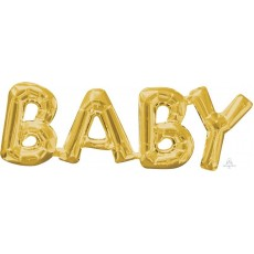 Baby Shower - General Gold CI: Script Phrase Shaped Balloon