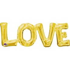 Gold CI:Phrases LOVE Shaped Balloon 63cm x 22cm