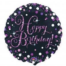 Happy Birthday Pink Celebration Standard Holographic Foil Balloon