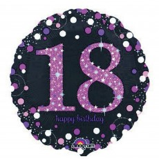 Round 18th Birthday Pink Celebration Standard Holographic Foil Balloon 45cm