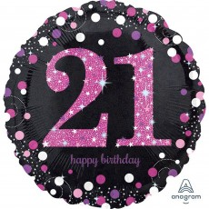 21st Birthday Pink Celebration Standard Holographic Foil Balloon