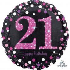 Round 21st Birthday Pink Celebration Standard Holographic Foil Balloon 45cm
